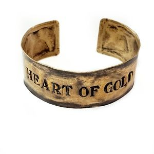 HEART OF GOLD Antiqued Brass Cuff Bracelet